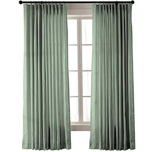 (ChadMade Vintage Textured Extra Wide Faux Dupioni Silk Drape Curtain Panel Pinch Pleated 100