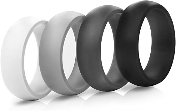 Saco Band Silicone Ring Wedding Band for Men and Women - 4 Pack