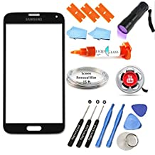 Samsung Galaxy S5 Black New Front Outer Glass Lens Screen Replacement Repair Kit + Instructional Video + LOCA + UV Light + Magnetized Tools G900 G900A G900P G900R4 G900T G900V