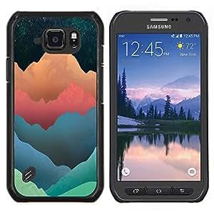 Qstar Arte & diseño plástico duro Fundas Cover Cubre Hard Case Cover para Samsung Galaxy S6Active Active G890A (Tonos modelo montaña)
