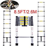 Telescopic Ladder Jason 8.5FT | 2.6M High Quality Max load 330lbs Aluminum Ladder Extendable Ladder With EN131 and CE Standard [Step A +++](8.5TF/2.6M)