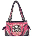 Western Concealed Carry Gun Rhinestone Skull Bones Skeleton Handbag Purse (Hot Pink)
