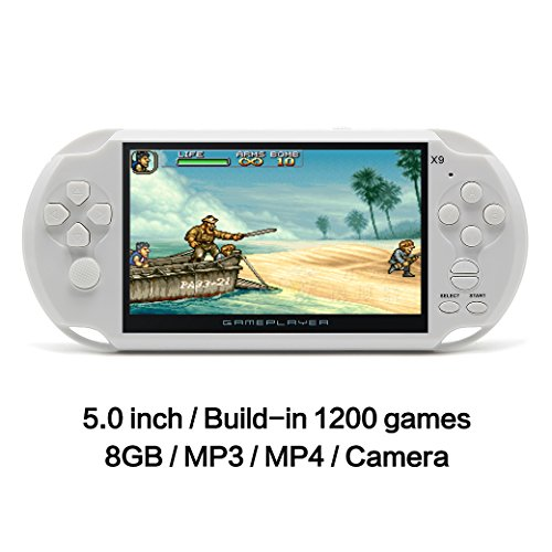 JXD 5 inch 8G Handheld Game Console Built-in 1300 No-repeat Games CPS/NEOGEO/FC/GBA/NES/SF Games LCD Classic Video Game Console 64Bit Portable Gaming with MP4 MP5