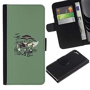 NEECELL GIFT forCITY // Billetera de cuero Caso Cubierta de protección Carcasa / Leather Wallet Case for Apple Iphone 5 / 5S // Vampire Zombie Attack