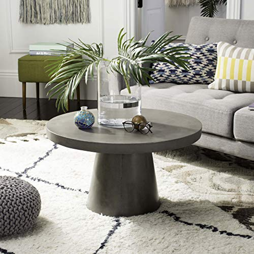 Safavieh VNN1014A Collection Delfia Dark Grey Indoor/Outdoor Modern Concrete Round 27.56