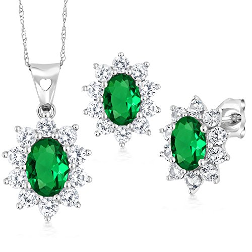 Gem Stone King 2.60 Ct Oval Green Simulated Emerald 10K White Gold Pendant Earrings Set ()
