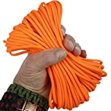Paracord 80'S Neon Orange 50 ft. Hank, 7 Internal Strands, 550 Lb. Break Strength.  Military Survival Parachute Cord for Bracelets & Projects.  Guaranteed Made In US.  Includes 2 eBooks.