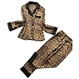 Atezch Women's Sexy Satin Leopard Long Sleeve Pajama Pant Set - Long Sleeve Sleep Shirt & PJ Lounge Bottoms