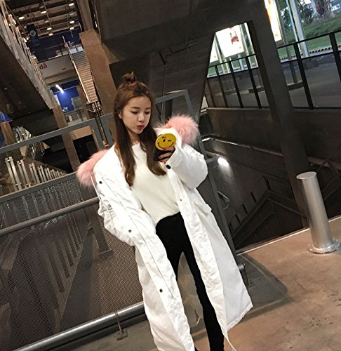 Feather Women Hair Jacket Xuanku Cotton Loose Collar Thickening Paragraph Jacket White Cotton Clothing Cotton Large Large In Long The YwwxAa