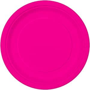 """Unique party tableware Neon Pink Dinner Plates, 16ct, 9"""""""