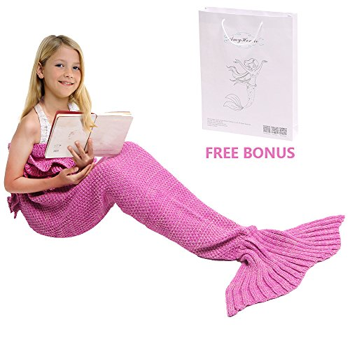 Mermaid Tail Blanket, Amyhomie Mermaid Crochet Blanket for Adult and Kids, All Season Sleeping Bag (Kids, Pink)