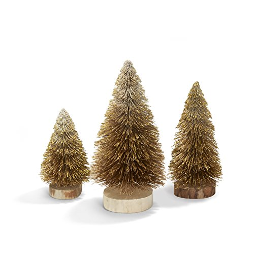 LampLust Bottle Brush Christmas Trees, Gold Sisal Table Top Decoration - Set of 3 by LampLust