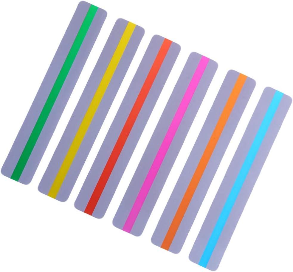 6 pezzi STOBOK Strisce guida per la lettura colorate strisce evidenziatore segnalibri evidenziatori in pvc creativo