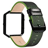 V-Moro for Fitbit Blaze Bands, Leather Bracelet Strap Replacement Band with Metal Frame For Fitbit Blaze Smart Fitness Watch Women Men (Black/Green&Metal Frame Black)