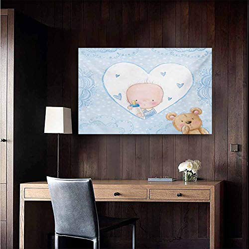duommhome Gender Reveal Simulation Oil Painting Little Baby Boy and Teddy Bear Toy Heart Shaped Cute Design Decorative Painted Sofa Background Wall 35