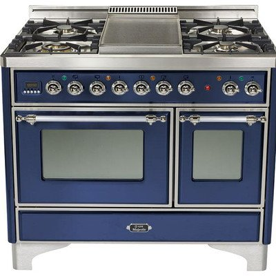 Ilve UMD-100FDMPBLX 40' Majestic Dual Fuel Freestanding Range with 2.44 cu. ft. & 1.44 cu. ft. Ovens Full-Width Warming Drawer Rotisserie 5 Burners with Griddle: Midnight Blue with Chrome