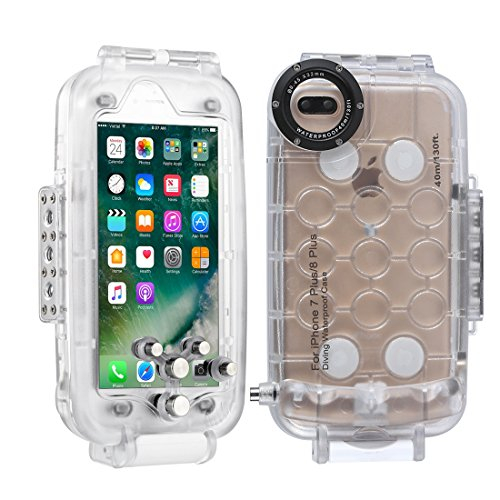 HAWEEL iPhone 7 Plus/ 8 Plus Underwater Housing Professional [40m/130ft] Diving Protective Case for Diving Surfing Swimming Snorkeling Photo Video with Lanyard (iPhone 7plus/ 8plus, Transparent) from Haweel