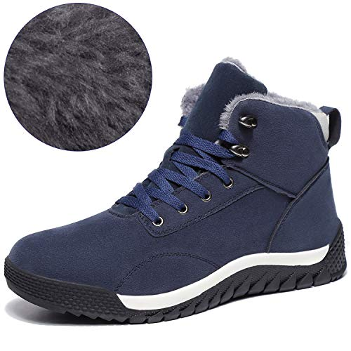 (SCIEN Men's Snow Boots Fur Lining Winter Warm Shoes High Top Antiskid Suede Leather Fashion Sneakers, C Dark Blue 41)