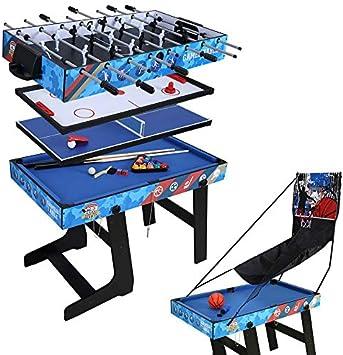 JCF Mesa Multijuegos 5 en 1 Mesa de Juego para Fútbol, Ping Pong, Hockey, Billar y Baloncesto con Patas Plegables Ideal para Fiesta: Amazon.es: Juguetes y juegos