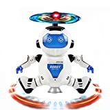 Sixpi Electronic Toy Robot Walking Dancing Singing Robot with Musical and Colorful Flashing Lights 360° Body Spinning Robot Toy Gift (blue)