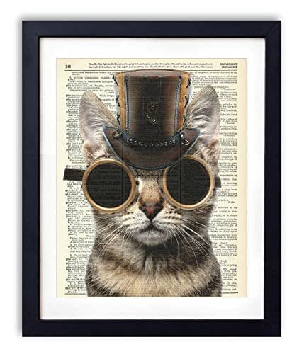 Steampunk cat upcycled vintage dictionary art for Bathroom paintings amazon