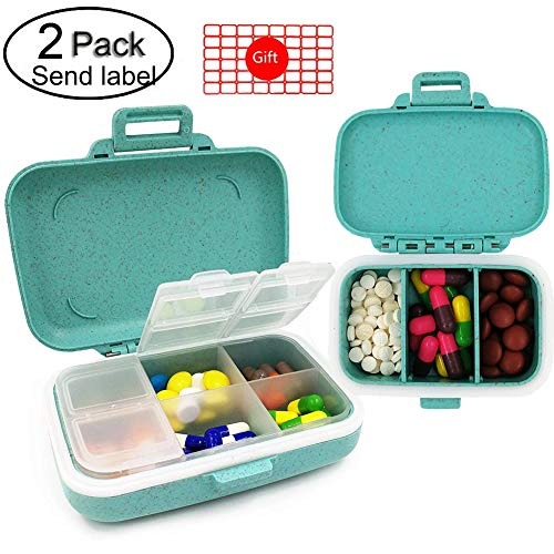 Muchengbao 2 Pack Pill Case Travel Pill Organizer Pill Box for Purse One Big and one Small Pill Box Dispenser for Purse Vitamin Fish Oil Compartments Container Medicine Box (Blue - Pill case)