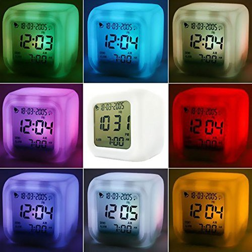 - DZT1968 7 LED Color Temperature Change Square Digital Alarm Clock