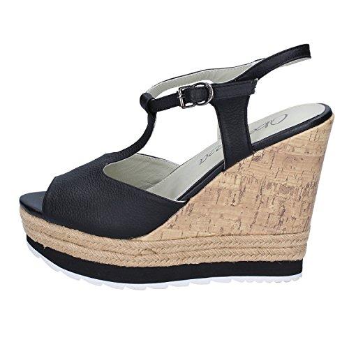 Sandalias de la mujer Apepazza cuña FRT02 FIONA NAPA negro Nero
