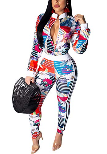 LAJIOJIO Womens 2 Piece Outfits Floral Print Jacket Suit Bodycon Pants Sweatsuits Tracksuit Colorful XL