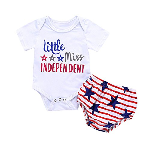 2 Piece Newborn Infant Clothes Sets, Little Miss Independent Tshirt Romper Jumpsuit + Printed Shorts for Baby Girl Boy Outfit White -