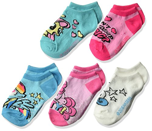 Hasbro Girls Little Pony 5 Pack No Show, assorted color, Fits Sock Size 5-6.5; Fits Shoe Size 4-7.5
