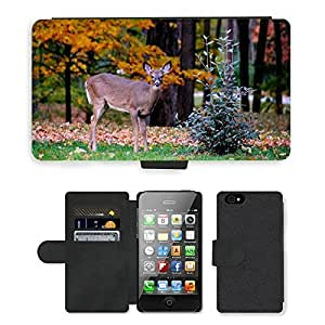 Hot Style Cell Phone Card Slot PU Leather Wallet Case // M00108009 Fauna Deer Fall Leaves Park Animal // Apple iPhone 4 4S 4G