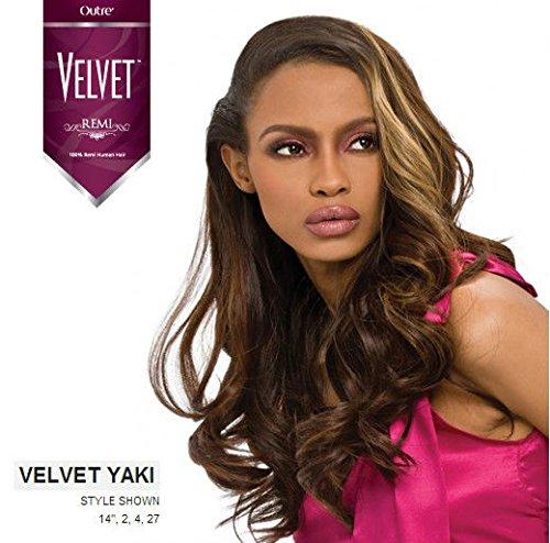 Velvet Remi Human Hair Weave - Yaki Weaving (10 inch, 4 - Light Brown) ()
