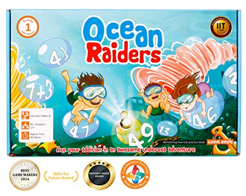 OCEAN RAIDERS math game - STEM toy to learn addition and number sequencing - Gift for boys and girls age 4 and up - Just know upward counting to start -