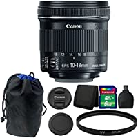 Canon EF-S 10-18mm f/4.5-5.6 IS STM Lens 8GB Accessory Kit for DSLR Camera