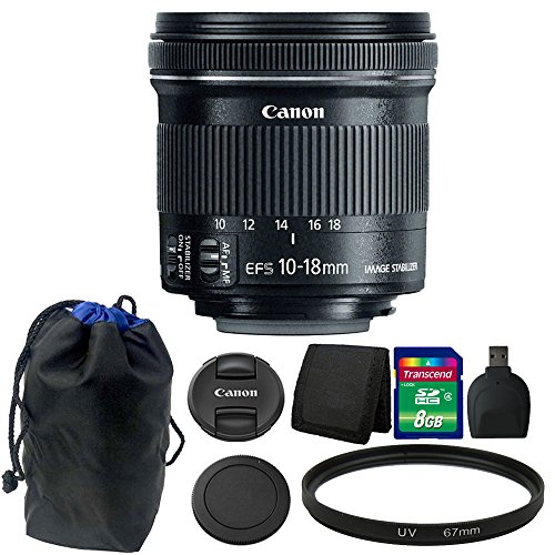 Canon EF-S 10-18mm f/4.5-5.6 is STM Lens + 8GB Memory Card + Wallet + Reader + Pouch