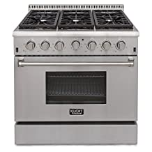 """KUCHT KRG3618U/LP 36"""" Professional-Class Propane Gas Range, Convection Oven, 6 Top Burners, Blue Porcelain Interior in Stainless Steel"""