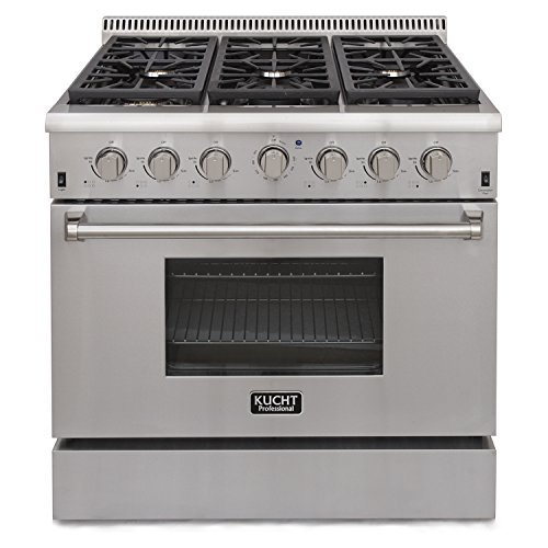KUCHT KRG3618U/LP Pro-Style 36 inch Stainless Steel Propane Gas Fuel Sealed Burner Range - Convection & Infra-red Broiler