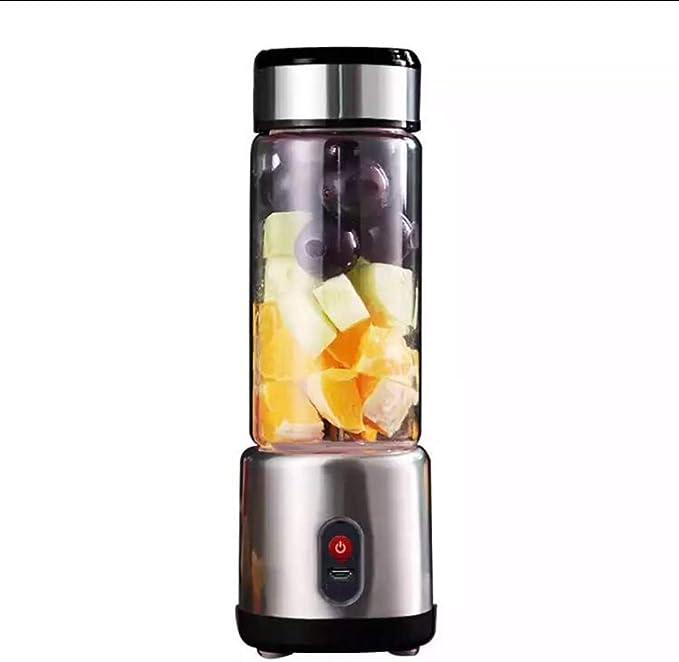 Mini licuadora de 450 ml, batidora eléctrica portátil de frutas recargable con USB. con 6 cuchillas de afilar de acero inoxidable, batidos, batidos perfectos en todas partes, Black: Amazon.es