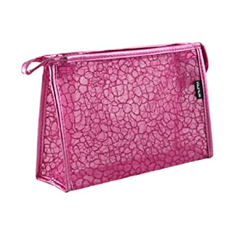 SODIAL(R) Powder Decor Zip Up Make Up Mesh Plastic Pouch Bag Fuchsia For Lady
