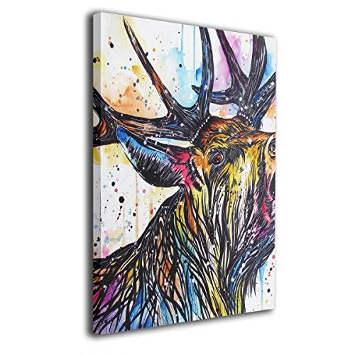 Baerg Colorful Stag Cried Frameless Decorative Painting Wall Art for Home and Office Decorations ()