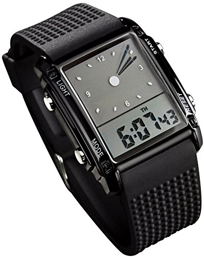 Fanmis Men's Rectangle Dial Sports Wrist Watch with Five Colors Optional LED Backlight Color Black -