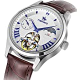 Timweis Automatic Mechanical Watch, Men Genuine Leather Waterproof Business Wristwatch with Day and Night Switching (Silver)