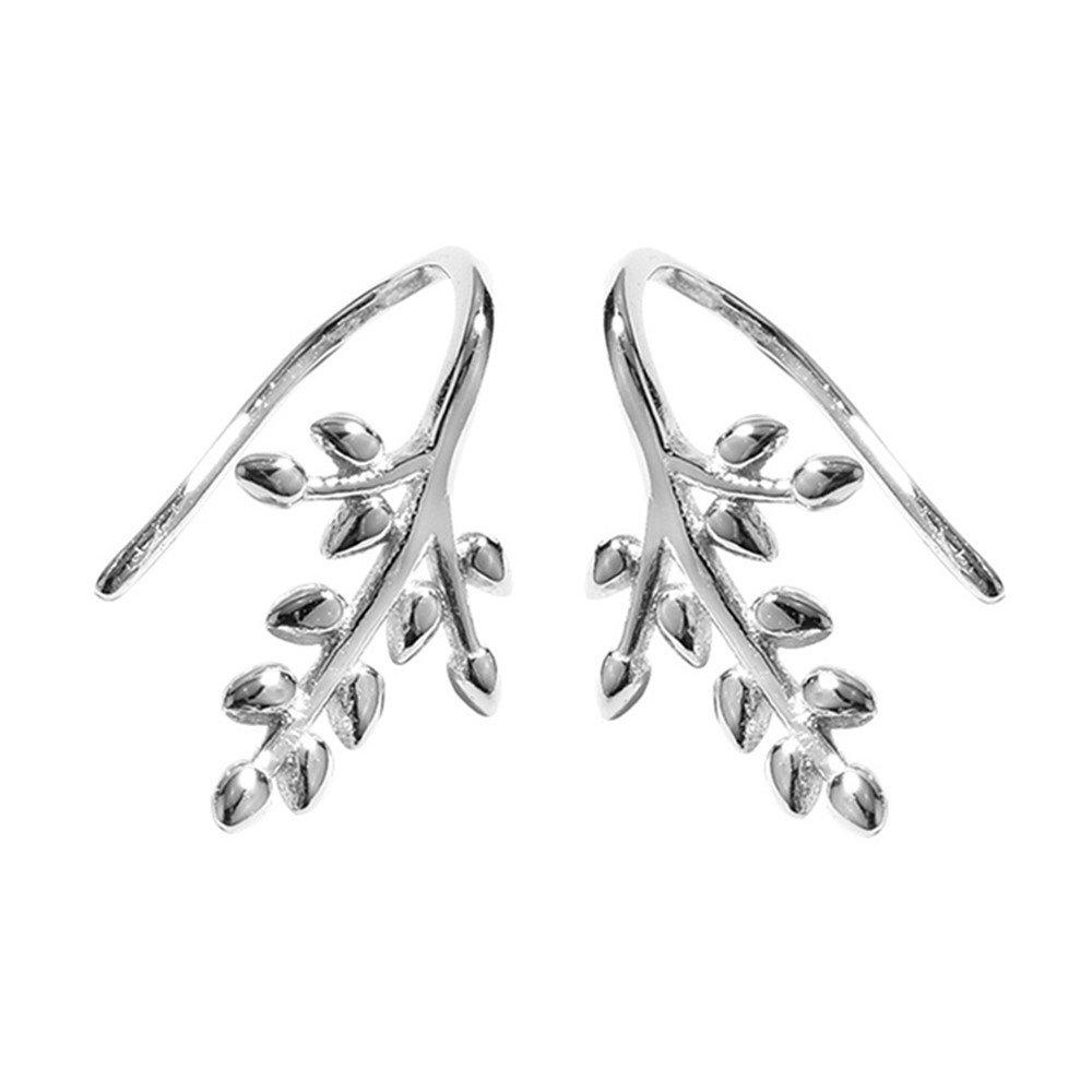 Kingforce Sterling Silver Leaf Crawler Cuff Hook Earrings for Women & Girls Ear Clip