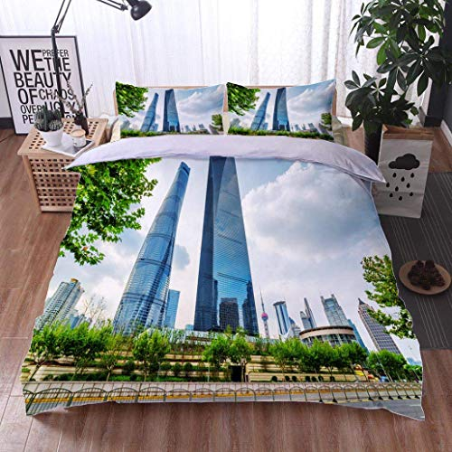 VROSELV-HOME 3 PCS King Size Comforter Set,Skyscrapers of Downtown on Blue Sky Background Shanghai China,Soft,Breathable,Hypoallergenic,Decorative 3 Piece Bedding Set with 2 Pillow Sham