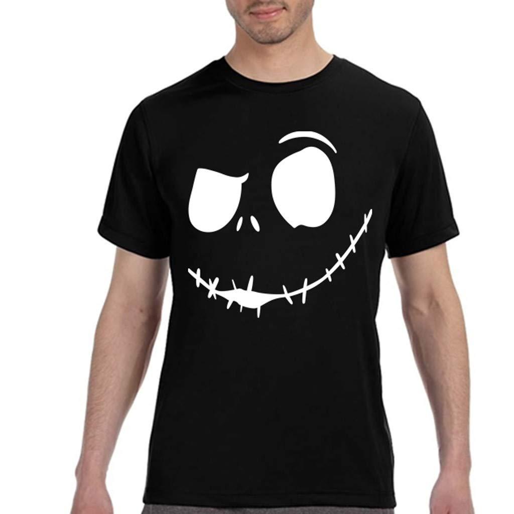 Mens Summer New Evil Smile Face Printed Round-Collar Comfortable T-Shirt Top Palarn Mens Fashion Sports Shirts