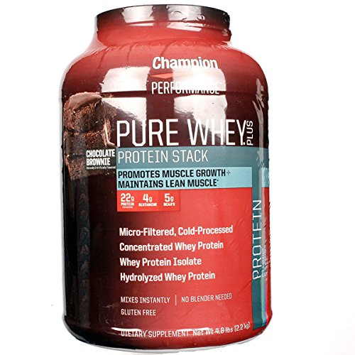 Champion Performance - Pure Whey Plus Protein Stack - Chocolate Brownie - Whey Protein Isolate Powder Sports Supplement, Promotes Muscle Growth and Maintains Lean Muscle - 4.8 lbs. (Nutrition Pure Protein Whey)