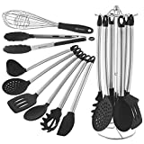 Kitchen Utensil Set With Holder - 8 Piece Silicone, Non Stick, Cooking Utensils Set With Stainless Steel Stand