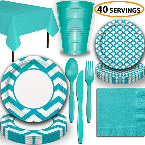 Disposable Tableware, 40 Sets - Caribbean Teal - Chevron Dinner Plates, Scallop Dessert Plates, Cups, Lunch Napkins, Cutlery, and Tablecloths: Premium Quality Party Supplies Set -