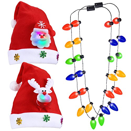 Ugly Sweater Christmas Party Kit,Konsait Light up Christmas Santa Clause & Elf Hat, Led Christmas Bulb Necklace Combo (2pack) for Women Men Girls Adult Kids Xmas Party Favor Decoration Supplies (Christmas Sweaters Ugly)